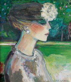 Jean-Pierre Cassigneul : Portrait of Elegant Woman Wearing Hat (Élégante au chapeau), N/D