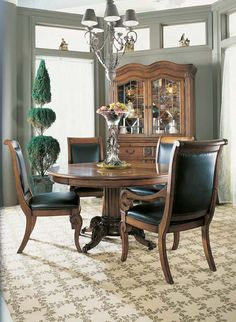 Wine Taster's Pedestal Dining Table 320-810/811, Bountiful Harvest Upholstered Back Side Chair 320-824, Bountiful Harvest Upholstered Back Arm Chair 320-825