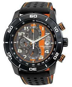 Citizen Watch, Men's Chronograph Eco-Drive Black Polyurethane-Coated Leather Strap 45mm CA0467-11H