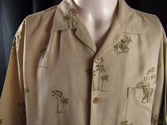 KAHALA Hawaiian Shirt 100% Silk Del Mar Horse Race Track Embroidered Large L EUC #Kahala #Hawaiian