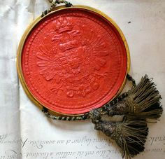 Seal of the Emperor Francis I, Image via The essence of Frenchness A Royal Affair, Small Art, Colour Board, Crests, Ancient Artifacts, Wax Seals, Color Of Life, Coat Of Arms, Warm Colors