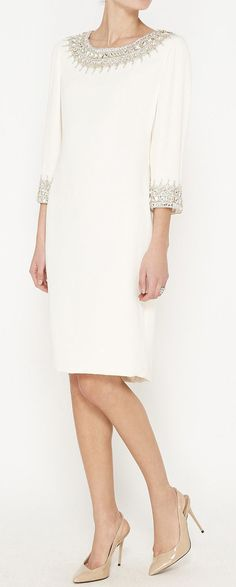 Marchesa Ivory And Crystal Dress | VAUNTE