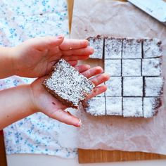 [no bake] choc coconut slice - my lovely little lunch box Healthy Sweets, Healthy Dessert Recipes, Healthy Kids, Whole Food Recipes, Snack Recipes, Healthy Snacks, Paleo Meals, Family Recipes, Healthy Desserts