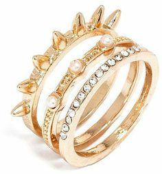 BaubleBar Pearl Spike Ring Set
