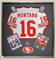 Joe Montana signed jersey framed with football cards, sogned photos, and logo.