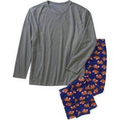 Championship Gold Big Men's Thermal Top and Micro Fleece Sleep Pants Set, Size: 4XL, Gray