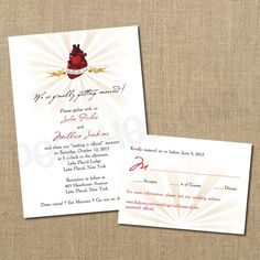 Anatomical Heart Wedding Invitation and Response by PerchedOwl, $18.00