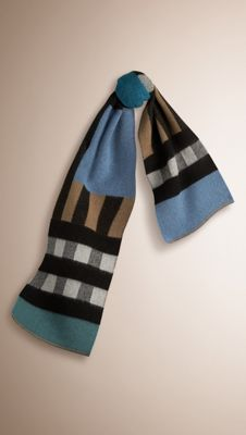 Burberry Dusty Teal Patchwork Check Wool Cashmere Blanket Scarf - A Scottish-made wool and cashmere blanket scarf woven in a colour block patchwork check. Discover the scarves collection at Burberry.com