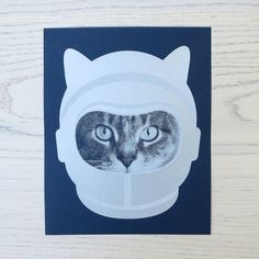 gee whiskers series: astronaut screenprinted by fancyseeingyouhere