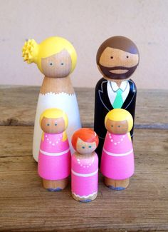 Personalized wedding family cake topper by KrisTeenyTinys on Etsy