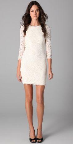 I wonder if it has pockets?  Diane Von Furstenberg Zarita Lace Dress in White (ivory) - Lyst