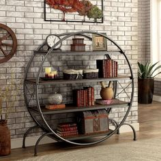 Furniture of America Samyah Industrial Style Round Metal Display Case, Dark Gray Round Bookshelf, Industrial Bookshelf, Industrial House, Industrial Style, Bookshelves, Industrial Metal, Bookshelf Ideas, Bookshelf Speakers, Vintage Industrial Furniture