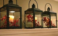 Candles in Lanterns with berries. - Love the lanterns. - The Yellow Cape Cod: Christmas Home Tour 2010 Christmas Lanterns, Noel Christmas, Country Christmas, All Things Christmas, Winter Christmas, Christmas Crafts, Christmas Decorations, Simple Christmas, Lantern Decorations