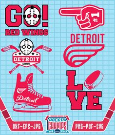 Detroit Red Wings Monogram SVG, Detroit Red Wings Logo, File for Cricut or Silhouette, Detroit Red Wings Cliparts, Hockey Cliparts CHL#08