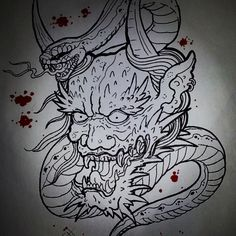 Dragon Hannya head snake tattoo sketch draw artwork