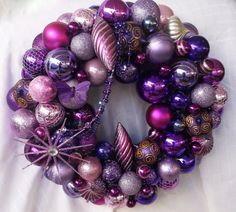 Purple Christmas Wreath hand made, beautiful