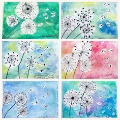 What a suitable theme for the first windy day of summer, and the last art class this school year! The lovely and dainty dandelion! We rehashed some of the pen and line, illustration, and watercolor techniques we explored this year. Salt, alcohol spritz and rubber cement resist were some of the tricks and tools we used. Kids ages 6-8.