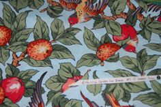 "SALE 25% OFF Remnant Sale Fabric - 18 1/2"" x 44"" Phillip Jacobs  - #27 Summer Tree with Birds - for Rowan - 100 Percent High Quality Cotton - $5.24 USD"