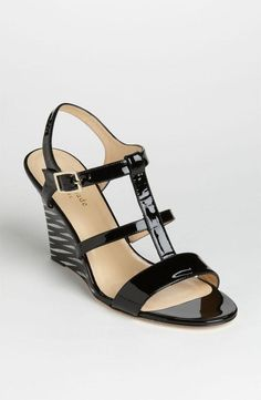 kate spade new york stripe wedge sandal