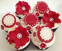 Ruby Anniversary cupcakes - For all your Ruby Anniversary cake decorating supplies, please visit http://www.craftcompany.co.uk/occasions/anniversary/ruby-wedding-anniversary.html