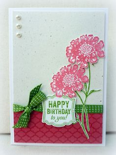 Stamps: Field Flowers, Label Love, Summer Silhouettes Ink: Gumball Green, Primrose Petals Paper: Primrose Petals, Naturals White, Whisper White Accessories: Gumball Green ribbon, pearls Tools: Artisan Label punch