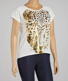 Look at this #zulilyfind! White & Gold Leopard Hi-Low Top - Plus by CANARI #zulilyfinds