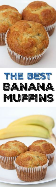 The best banana muffin recipe. The perfect breakfast recipe idea to use overripe. The best banana muffin recipe. The perfect breakfast recipe idea to use overripe bananas. This muffin recipe is so easy and the best muffins weve ever. Delicious Desserts, Dessert Recipes, Yummy Food, Tasty, Best Banana Muffin Recipe, Easy Muffin Recipe, Moist Banana Muffins, Banaba Muffins, Banana Recipes Easy Healthy