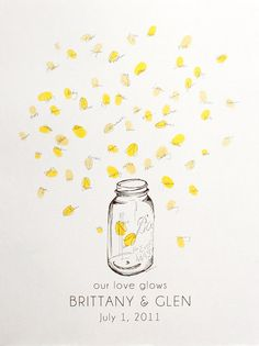 Mason jar with thumbprint fireflies. I really like the idea of having this as something I can add to with each year of my program.