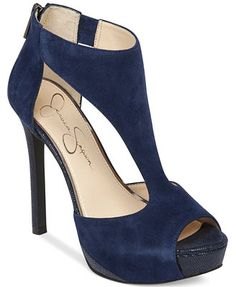 A blue suede heel! Jessica Simpson Carideo T-Strap Platform Pumps