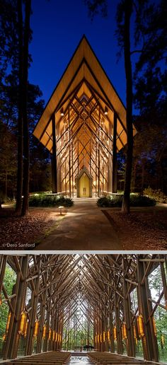 Anthony Chapel at Garvan Woodland Gardens, Hot Springs ~ Designed by Maurice Jennings, an Arkansas draftsman from Fayetteville with 25 years of experience working with nationally renowned design partner Fay Jones. The Chapel compliments the surrounding wooded landscape & offers views of the changing seasons with floor-to-ceiling glass walls & multiple skylights. It is the site of numerous events, including concerts, memorial & christening services, & approximately 175 weddings annually.