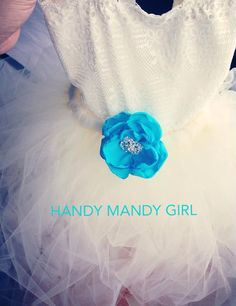 Ivory brooch blue lace flower girl tutu dress- flower girl dress- birthday outfit up to size 5T on Etsy, $70.00