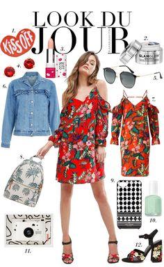Look Du Jour: Kiss off! Red floral cold shoulder dress+black floral ankle strap heeled sandals+denim jacket+white palm print backpack+red earrings+sunglasses. Spring Weekend Outfit 2017