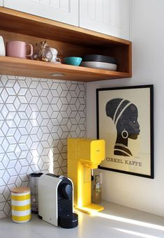 Has subway tile become basic? Here are 20 kitchen backsplash designs to try when you're tired of the same old subway tile. For more kitchen and bathroom tile trends, head to Domino. Kitchen Tiles, New Kitchen, Kitchen Decor, Kitchen Yellow, Kitchen Cabinets, Bathroom Yellow, Country Kitchen, Funny Kitchen, Kitchen Corner