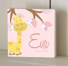 Pink Giraffe Custom Wooden Name Plaque/Door by RetroRagamuffins