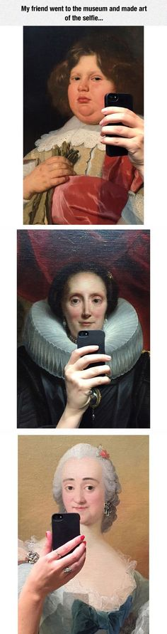 This is great. Selfies at museum.