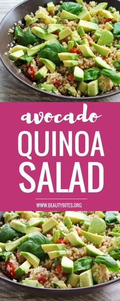Quinoa and avocado salad recipe that you'll want to eat every day! This is a super healthy salad recipe that is satisfying, refreshing, gluten-free and full of antioxidants! Avocado Quinoa, Avocado Salad Recipes, Salad Dressing Recipes, Healthy Salad Recipes, Vegan Recipes, Fun Recipes, Dinner Recipes, Benefits Of Eating Avocado, Avocado Health Benefits