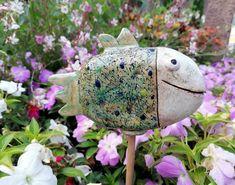Fisch Gartenkeramik Zierfisch gepunktet Keramik Gartenfigur Handmade Art, Riding Helmets, Things To Do, Handmade, Creative