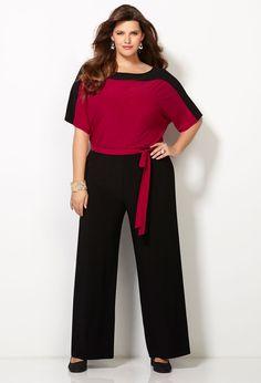 Colorblocked Jumpsuit-Plus Size Jumpsuit-Avenue