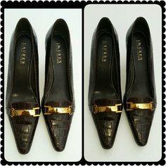 Ralph Lauren crocodile heels Ralph Lauren crocodile heels like new! Ralph Lauren Shoes
