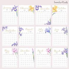 Large Wall Calendar 2020 Desk Calendar, Floral Calendar, Month at a glance