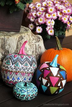 Tribal and geometric painted pumpkins! Learn how from Alisa Burke!