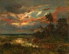 Mare au Crépuscule, Theodore Rousseau. French Barbizon School Painter (1812 - 1867)
