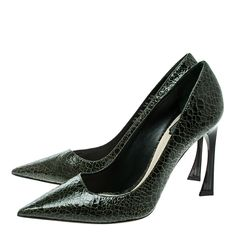 83f349428 Buy Dior Green Crackled Leather Pointed Toe Pumps Size 38 137375 at best  price | TLC