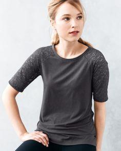 zinni™ by Garnet Hill Easy Lace-Sleeve Tee - Garnet Hill