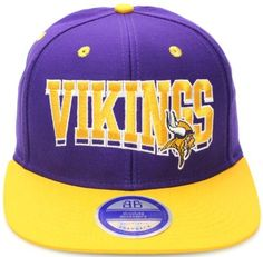 Minnesota Vikings Flat Bill Block Wave Style Snapback Hat Cap Purple Yellow NFL. $16.99