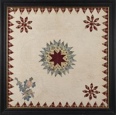 One of a Pair of pieced and appliqué crib quilts, 19th c., with a central star surrounded by quilted garland within a sawtooth border, 34'' x 34' : Lot 406, Pook &Pook, Live Auctioneers