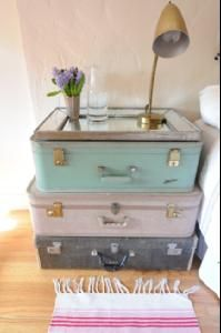shaby chic suitcase nightstand. I like the colors to.