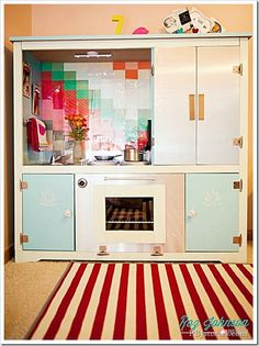 Just about the CUTEST DIY Kid's Kitchen from tv entertainment center