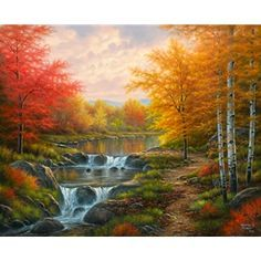 Autumn Glory by Abraham Hunter During the fall, I often find myself running through forests, hiking up and down trails, driving along country back roads, searching for wildlife, and exploring new lakes and rivers and snapping dozens of photos of anything that catches my eye along the way. This painting is inspired by all those adventures and snapshots. ~ Abraham Hunter home decor, painting, wall art, artwork, art, painter, landscape