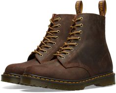 Martens 1460 Wax Commander Boot - Made In England In Brown Doc Martens Outfit, Doc Martens Style, Doc Martens Boots, Brown Dr Martens, White Doc Martens, Botas Dr Martens, Dr. Martens, Shoe Company, Goodyear Welt
